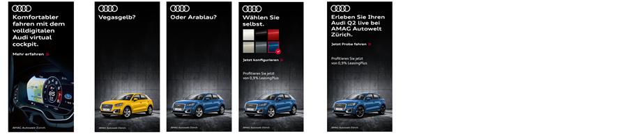 Anzeigen der aktuellen MediaCom Kampagne für Audi Schweiz